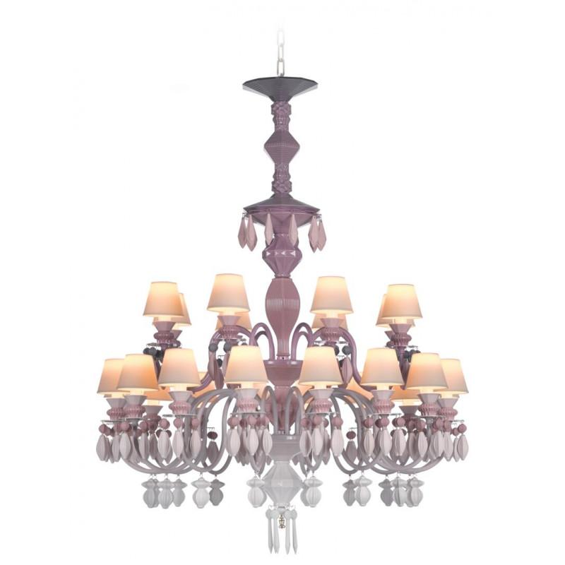 Люстра 24 лампы Розовая