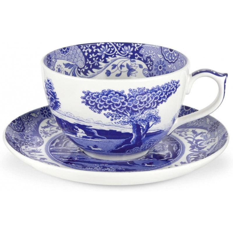 Чашка Джамбо с блюдцем Blue Italian